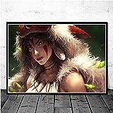 jiuyangshengong Princesa Mononoke Studio Ghibli Anime Posters e Impresiones Lienzo Pintura Cuadros de Pared para la decoración de la Sala de Estar Decoración del hogar (50X70Cm) Sin Marco OAD1029