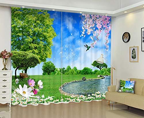Gnzoe Blackout Curtain Set Wonderland Flowers Grasses Trees and Bird Blackout Curtains Blue Green 214x183CM   2 Panels