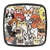 Varios Perros Angry Happy coloridos Perros de cocina para gabinetes Perillas de vidrio para aparador Cajones Tiradores Gabinete 4 Piezas