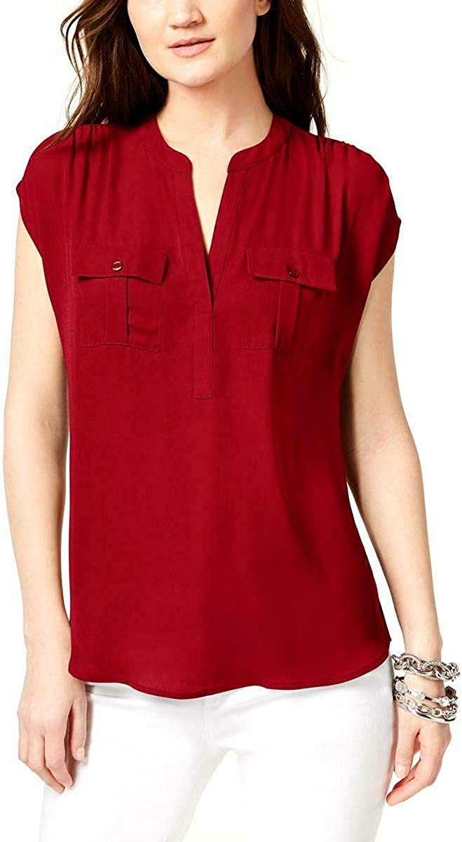 INC Women's Max 50% OFF Blouse Small Split Neck Utility Super special price S Red Shirt Solid