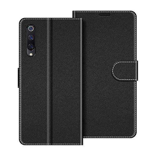 COODIO Handyhülle für Xiaomi Mi 9 SE Handy Hülle, Xiaomi Mi 9 SE Hülle Leder Handytasche für Xiaomi Mi 9 SE Klapphülle Tasche, Schwarz