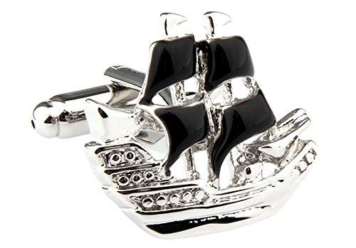 Pirate Cufflinks Pirate Ship Cuff-links with Velvet Gift Box