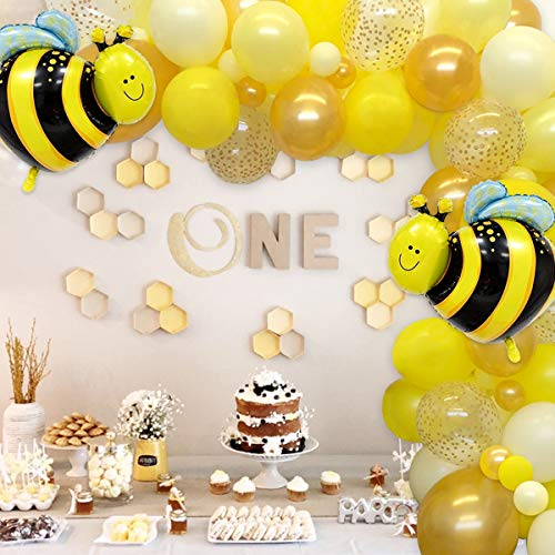Bee Balloons Garland Kit Bee Themed Balloon Arch Honey Birthday Party Decorations Supplies White Yellow Gold Polka Dot Balloons for Bee Theme Party Birthday Baby Shower