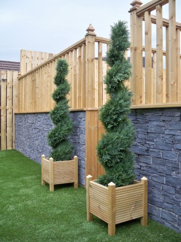 Pair of Best Artificial 5ft 150cm Cedar Conifer Spiral Topiary Trees **UV Fade Protected**