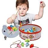 Arkmiido Juguete de Pesca Magnética de Madera Mesa, con 18 Peces , Juguete de Madera para niño ,Juego de Equilibrio, Cuentas de Madera para niños 3 4 5 6 Años.