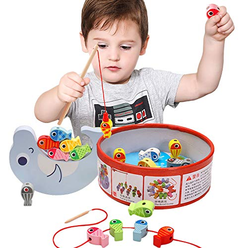 Arkmiido Juguete de Pesca Magnética de Madera Mesa, con 18 Peces , Juguete de Madera para niño ,Juego de Equilibrio, Cuentas de Madera para niños 3 4 5 6 Años. (Edition 1)