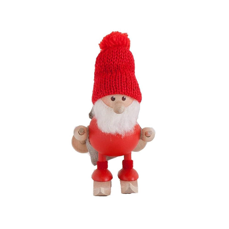 中に追放するルーNORDIKA nisse ノルディカ ニッセ クリスマス 木製人形 (スキーをしているふとっちょサンタ / レッド / NRD120103)