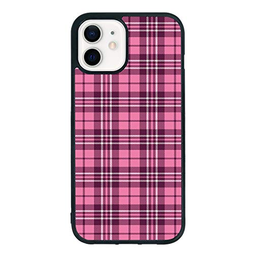 Plaid Phone Case for iPhone 12/12Pro 6.1 Inch - Shockproof Protective Cute Cool Pink Plaid Phone Case Designed for iPhone 12 Case for Boys Girls Teens Women Men Pink Plaid (Pink Plaid)