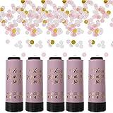 STOBOK 5 Piezas de Canones de Confeti Aire Comprimido Partido Poppers Shoot Streamers Palillos de Confeti Tubo Varitas para Boda Cumpleaños Graduación Fiesta Rosa 11Cm