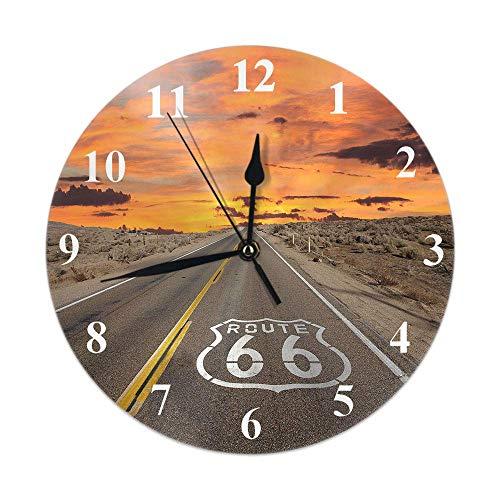 Highway Clock Route 66 Pflaster bei Sonnenaufgang in Kaliforniens Mojave Desert Dawn Dusk Runde Wanduhr Slient Non Ticking Rustikale Wohnkultur 10 Zoll für Küche Badezimmer Büro Orange Brown
