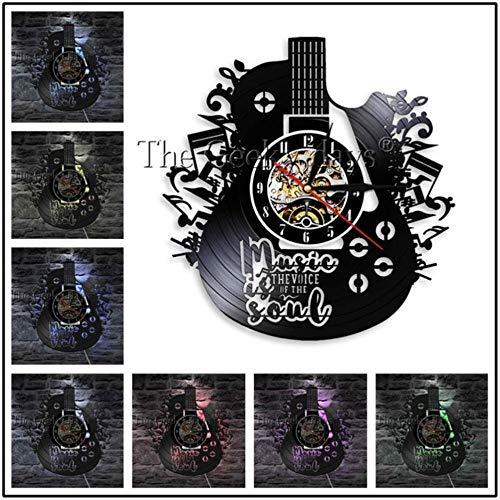 MNHI Musikinstrument Schallplatte Wanduhr Modernes Design Gitarren- und Schlagzeug-Kits Rockmusik LED-Uhr Wanduhr Home Decor, E-7 LED-Farbe