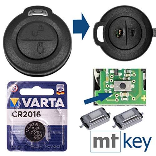 Repair Reparatur Satz Auto Schlüssel Austausch Gehäuse mit 2 Tasten + Drucktasten + Batterie kompatibel mit Mitsubishi Colt Smart 454 Forfour Gehäuse