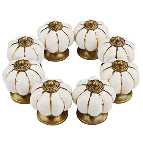 Cremefarbenes Weißes Keramik (8 teiliges) - (3.7 x 3.5 cm) Effekt Schrankknäufe Set Vintage Antik-Effekt Möbelknäufe Möbelgriff Schrankgriffe Schubladenknopf Set für Inneneinrichtung Küche Badezimmer