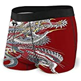 Intimo da uomo per tatuaggio Yakuza Dragon Soft traspirante No Ride Up Underwear per uomo, XL