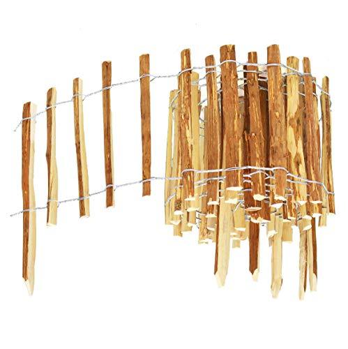 BOGATECO Haselnuss Roll-Steckzaun aus Holz | 50cm Hoch & 500cm Lang | Holz-Zaun | Lattenabstand 7-8cm | Staketenzaun Perfekt als Beet-Umrandung oder Weg-Abgrenzung