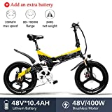 LANKELEISI G650 Bicicleta Eléctrica 20 x 2.4 Pulgada Bicicleta de Montaña Bicicleta Eléctrica Plegable Ciudad 400w 48v 10.4ah Batería de Litio Shimano 7 Velocidades(Amarillo +1 batería Extra)