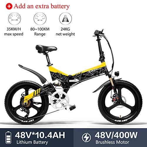 LANKELEISI G650 - Bicicletta elettrica 20 x 2,4 Grande, per Mountain Bike, Pieghevole, per Adulti, 400 W, 48 V, LG, Batteria al Litio Shimano 7 velocità, Jaune + 1 Extra 10.4ah batterie