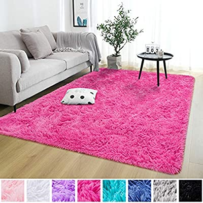 Rostyle Super Soft Fluffy Nursery Rug for Kids Teens Room Comfy Cute Floor Carpets Kids Playing Mat for Bedroom Living Room Home Decorate Area Rugs, 4 ft x 6 ft, Hot-Pink