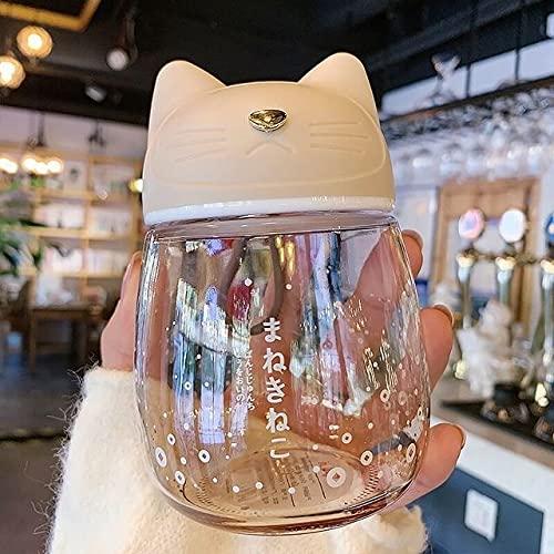 PPuujia Literatura japonesa y arte lindos gradientes de cristal fresco portátil práctico vaso de agua con forma de gato (capacidad: 300 ml, color: amarillo A31)
