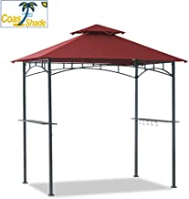 Coastshade 5'x8' Grill Gazebo Canopy Tent, Polyester Double Teir Soft Top Cover with LED Light, UV Resistant and Waterproof Fabric, for Patio and Outdoor Living BBQ Shelter (5x8, Red)
