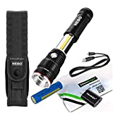 Nebo Slyde King 500 Lumen 6726 USB rechargeable LED flashlight/Worklight, rechargeable Li-ion battery, 6561 holster with EdisonBright USB charger bundle