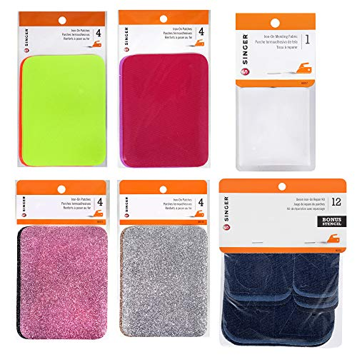 SINGER Patches Value Bundle - Collection of Neon, Glitter and Colorful Patches for Clothing Repairs and Creative Embellishments