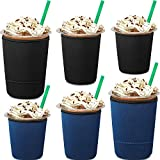 6 Pieces Reusable Ice Coffee Cup Sleeve 3 Sizes Insulator Drinks Cup Sleeve Neoprene Cup Holder for 16 to 32 oz Cold Hot Drink Coffee Tea Beverages Cup Bottle