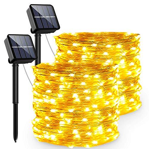 Guirnaldas Luces Exterior Solar, PVC Led Solares Exteriores Jardin 240 LED Y 8 Modos Cadena de Luces Ip65-Impermeabile para Navidad, Fiestas, Patio, Jardines, Festivales[2 Pack]
