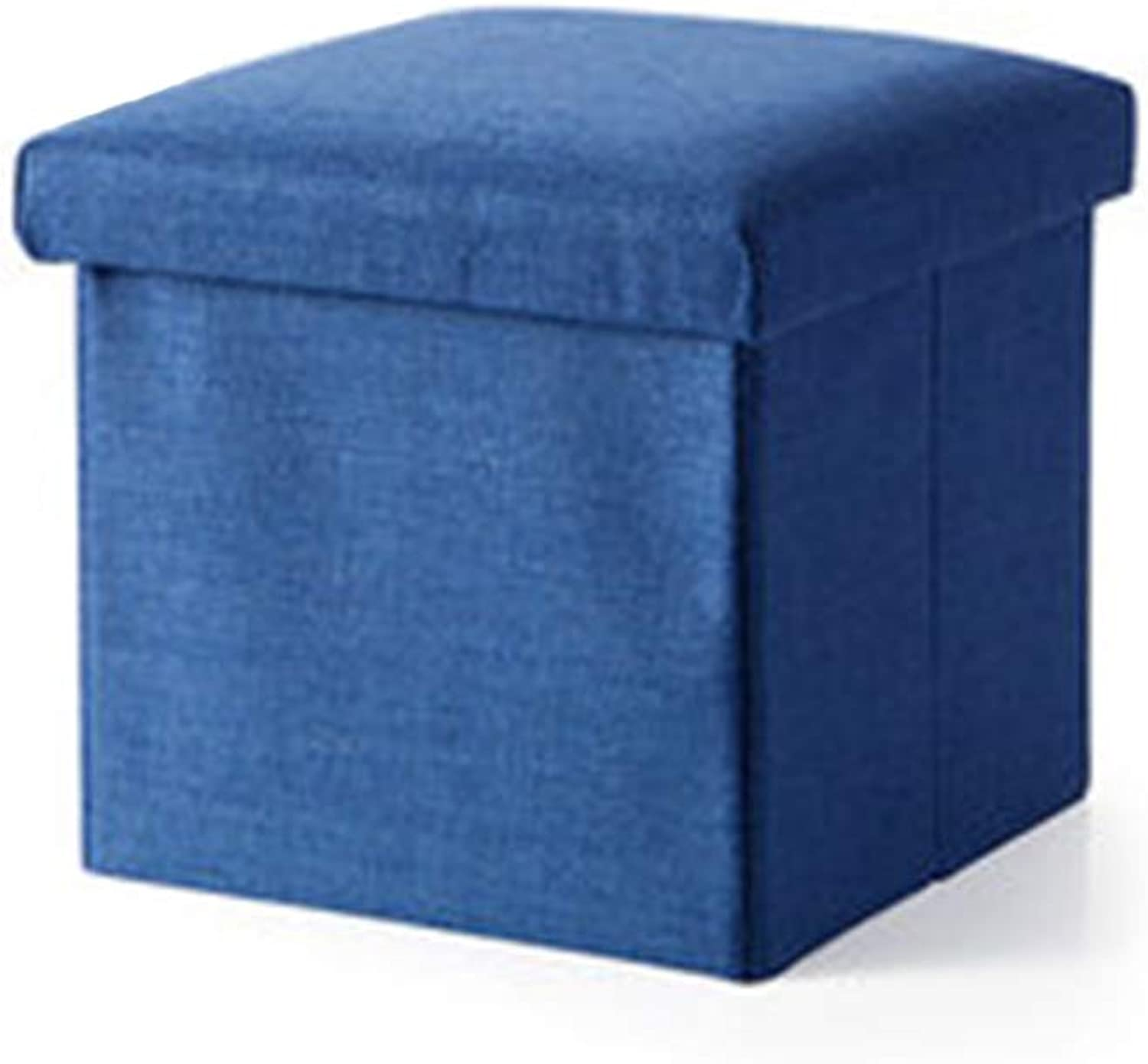 Folding Storage Large Capacity Linen Footstool Cube Small Bench Coffee Table seat Footrest Stool with upholstered Padded seat -A 31x31x31cm