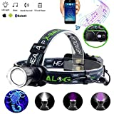 LED Rechargeable Headlamp flashlight With Wireless Bluetooth Speaker,for...
