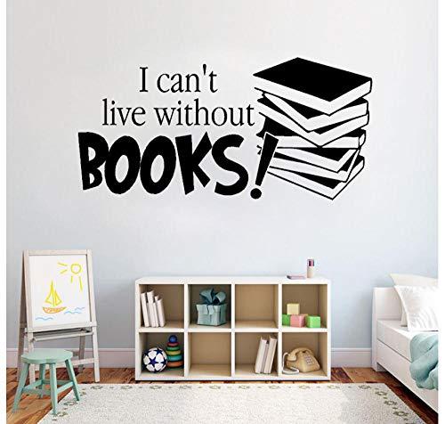 ¡No puedo vivir sin libros! Etiqueta de la pared del libro Etiqueta de la pared removible Letras Lectura Palabras Habitación de los niños Decoración de los adolescentes 57X27 Cm