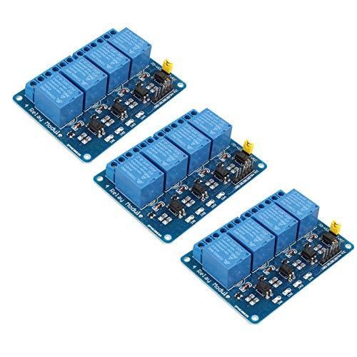 HALJIA - Módulo de relé de 4 canales, 3 unidades, 5 V, placa de...