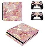 PS4 Slim Skins Console and Controller by ZOOMHITSKINS, Same Decal Quality for Cars, Gold Glossy Pink Marble Granit Pastel Color Quartz Stone Classy, Fit PS4 Slim, Made in USA