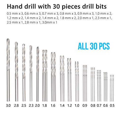 SUNJOYCO Hand Drill Bits Set 31Pcs, Precision Hand Pin Vise Rotary Tools with Micro Mini Twist Drill Bits (0.5-3.0mm) for Wood, Jewelry, Plastic, Craft Projects and Model Building, DIY Drilling etc