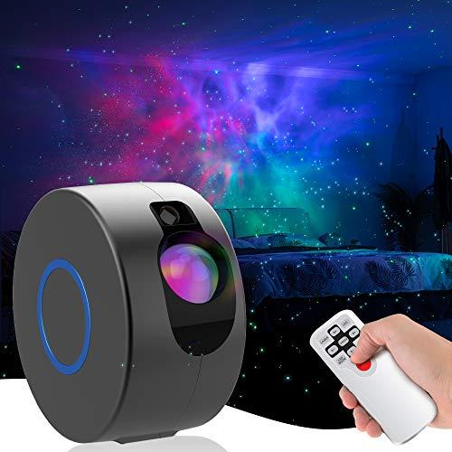 LED Galaxy Sternenhimmel Projektor, 3D Sternenlicht Projektor Lamp mit Fernbedienung, 8 Farben Aurora-Effekt Nachtlicht für Baby Schlafzimmer Zuhause, Party