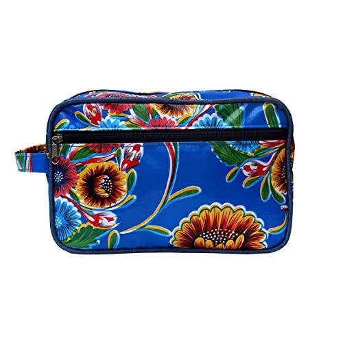 IKURI Wasserdichte Kosmetiktasche Kulturtasche Waschtasche Utensilio Handarbeit aus Wachstuch, mit Blumen - Design Dulce Flor blau