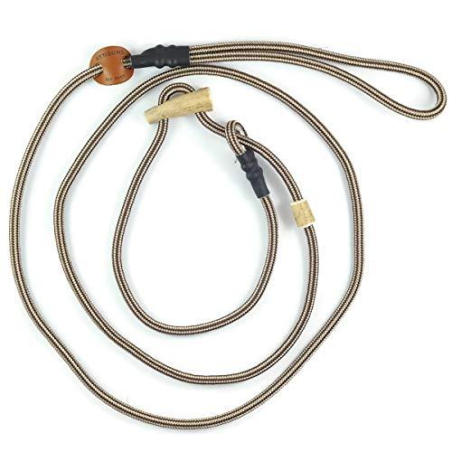 Retrieverlijn beige-bruin/Jachtlijn/Sliplijn/Moxonlijn Sporty | robuuste hondenriem gemaakt van touw met geïntegreerde halsbandje | 6mm | met echte herten hoorn stop