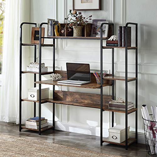 Merax. Home Office Hutch and Double Bookcase, Computer Workstation with Storage Bookshelf Desk, Brown