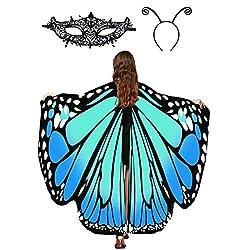 Butterfly Wings Shawl Cape Lace Mask Antenna Headband Set