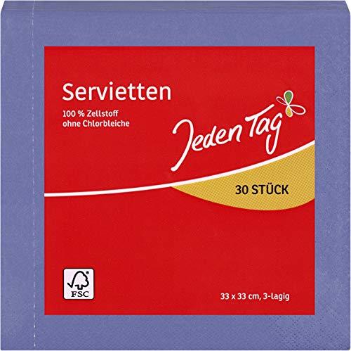 Jeden Tag Serviette uni 33x33 3lg. blau 30 Stück, 150 g
