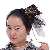 Mini clip per cappelli Steampunk Rose Floral, Lace, Chain Charm Cosplay, LARP Costume di scena Usura della testa nera Gothic, copricapo Lolita