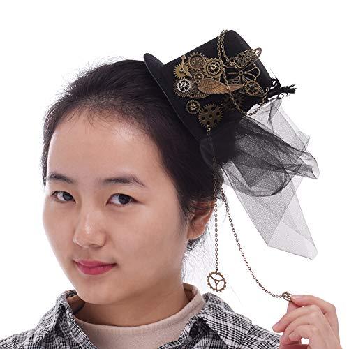 BLESSUME Steampunk Frauen Getriebe Mini Hut Gotisch Zylinder Haarspange (A)