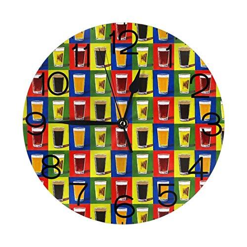 Andy Warhol - Reloj de pared redondo con diseño de cerveza y pintas de cerveza redonda (25 cm)