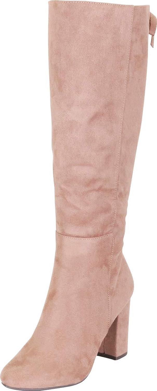 Cambridge Select Women's Back Lace Chunky Block Heel Knee-High Boot
