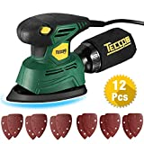 TECCPO Compact Mouse Detail Sander with 12Pcs Sandpapers, 14,000 OPM Multi-Function Sander, Efficient Dust Collection System, Ideal for Sanding, DIY-TAMS22P