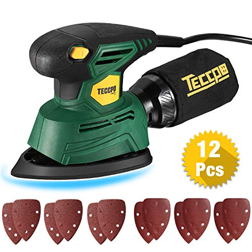 Mouse Detail Sander,TECCPO 14,000 OPM Compact Electirc Sander with 12Pcs Sandpapers, 1.1A(130W) Multi-Function Hand Sander, Efficient Dust Collection System for Tight Spaces Sanding -TAMS22P