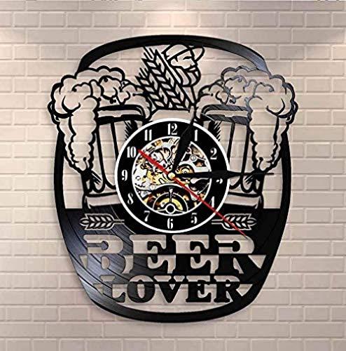 AGGG Vinyl Wall Clock Mug Foam Beer Pub Wall Clock Cheers Alcohol Vinyl Record Wall Clock Brewery Decorative Wall Clock Beer Lover Wine Drinker Gift 12 Inches