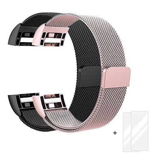 Fitbit Charge 2 Correa, Milanese Loop Correa de Acero Inoxidable Reemplazo Wristband...