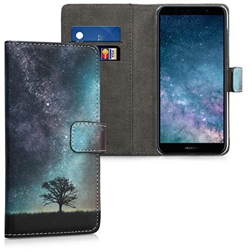 kwmobile Hülle kompatibel mit Huawei Y6 (2018) - Kunstleder Wallet Hülle mit Kartenfächern Stand Galaxie Baum Wiese Blau Grau Schwarz