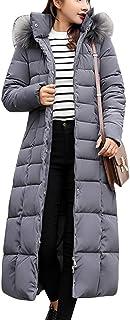 Guiran Women Warm Coat Padded Parka Casual Thicker Winter Hooded Down Jacket Long Overcoat Outerwear